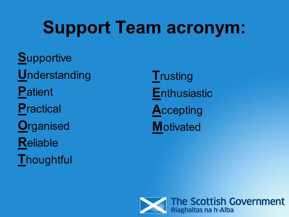 Support Team acronym: Supportive Understanding Patient Trusting