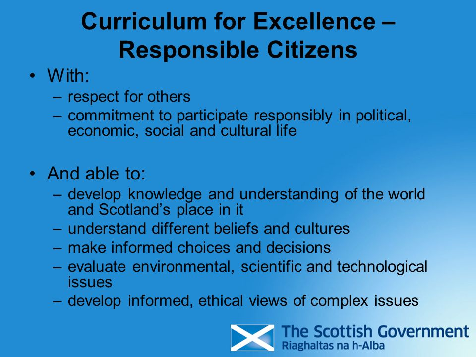 Curriculum for Excellence – Responsible Citizens
