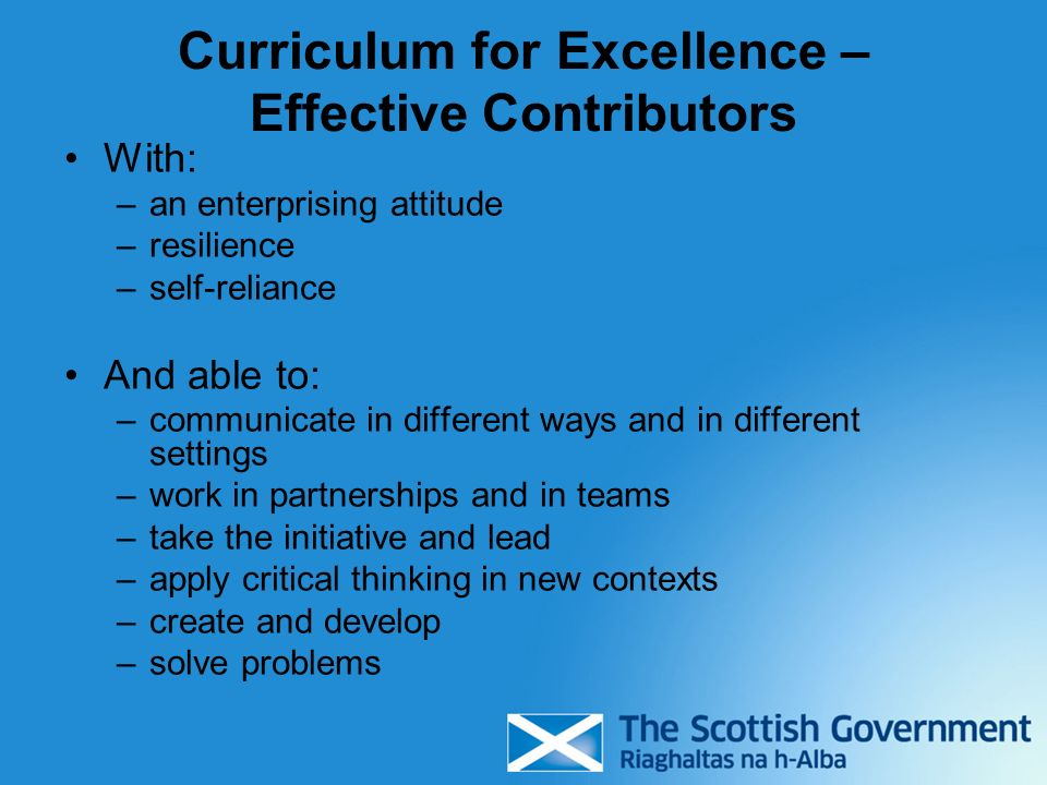 Curriculum for Excellence – Effective Contributors