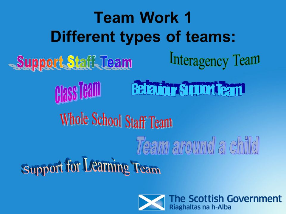 Team Work 1 Different types of teams: