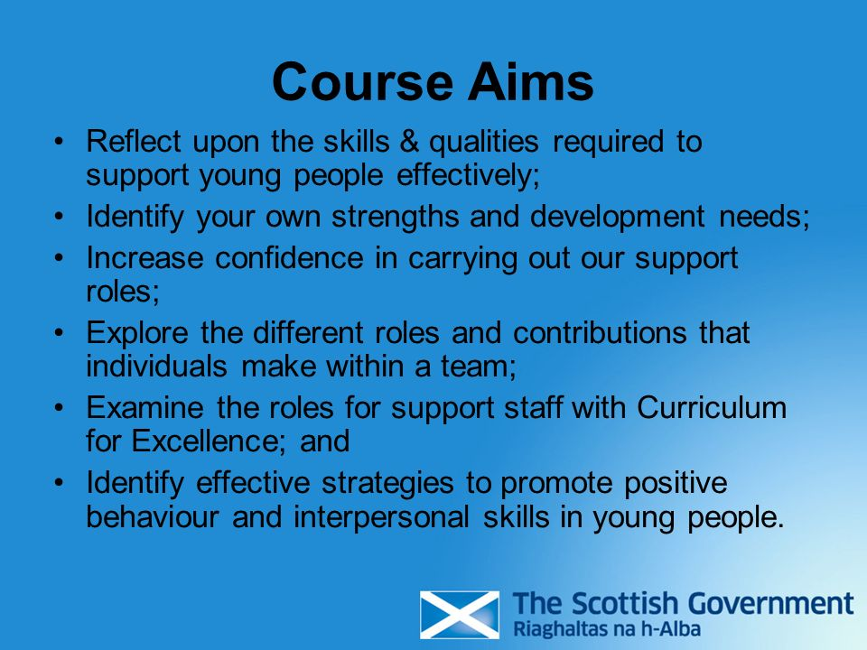 Course Aims Reflect upon the skills & qualities required to support young people effectively; Identify your own strengths and development needs;