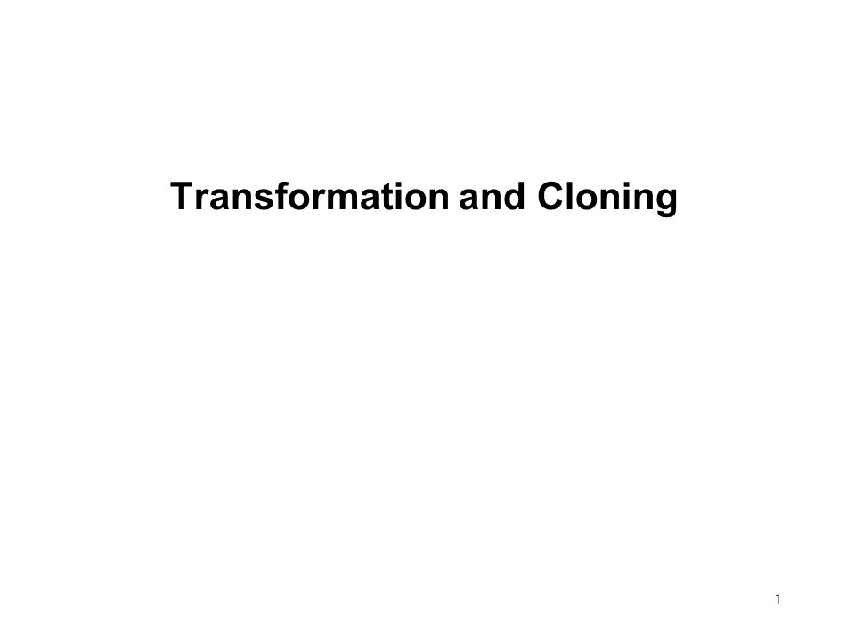Transformation and Cloning