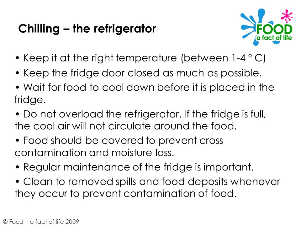 Chilling – the refrigerator