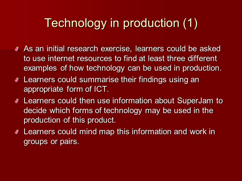 Technology in production (1)
