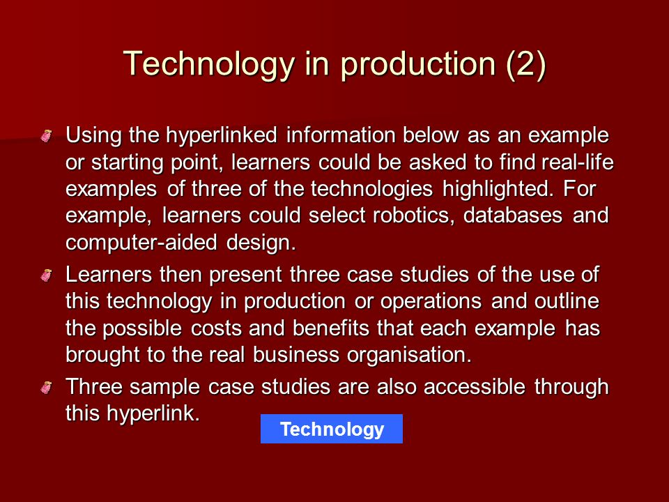 Technology in production (2)