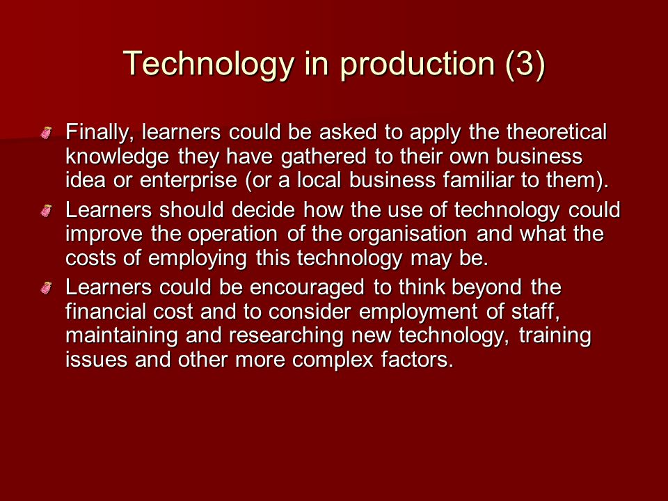 Technology in production (3)