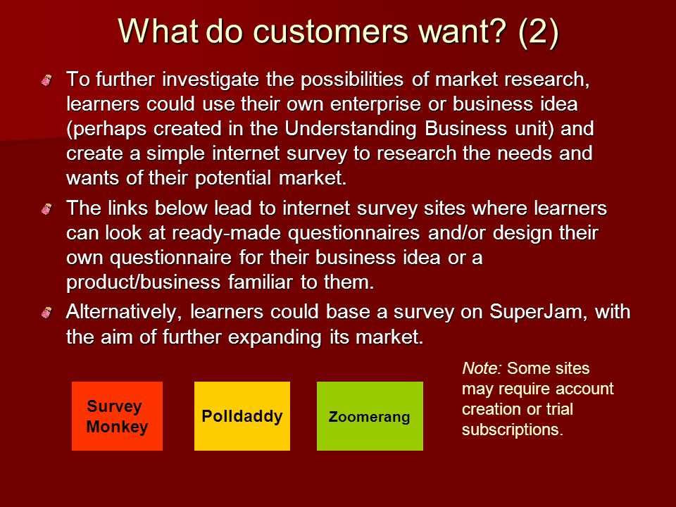 What do customers want (2)