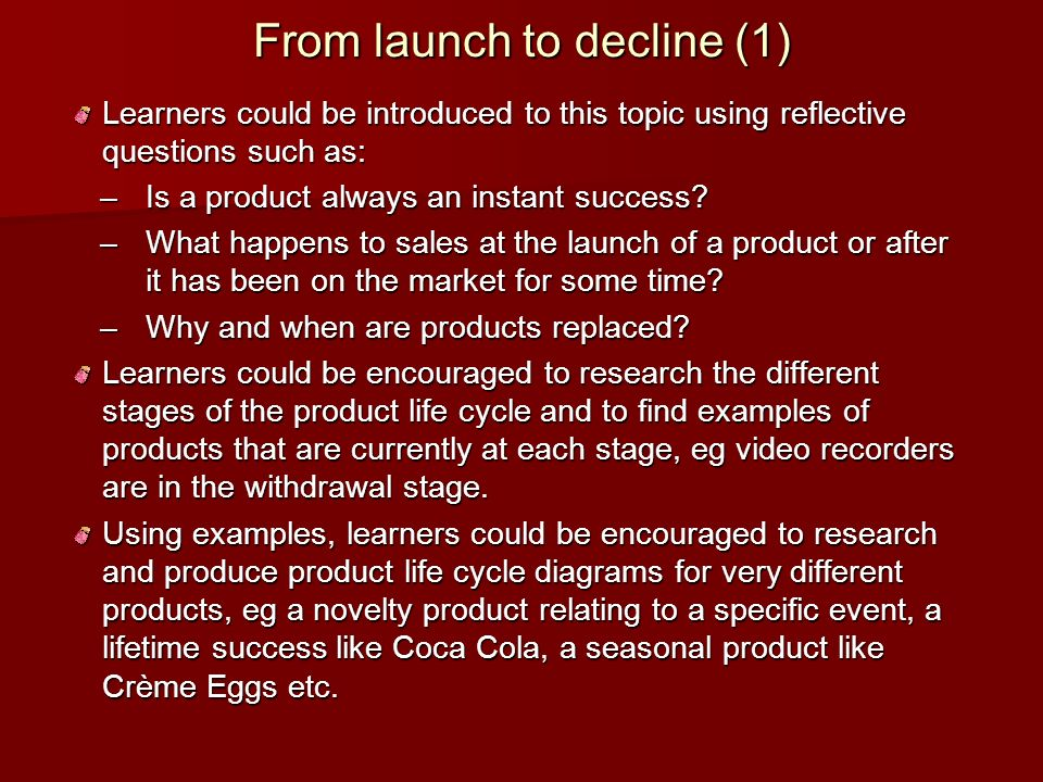 From launch to decline (1)