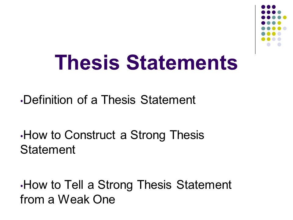 what does thesis statement mean If your thesis simply states facts that no one would, or even could, disagree with, it's possible that you are simply providing a summary or describing the text, rather than making an argument is my thesis statement specific enough thesis statements that are too vague often do not have a strong argument.