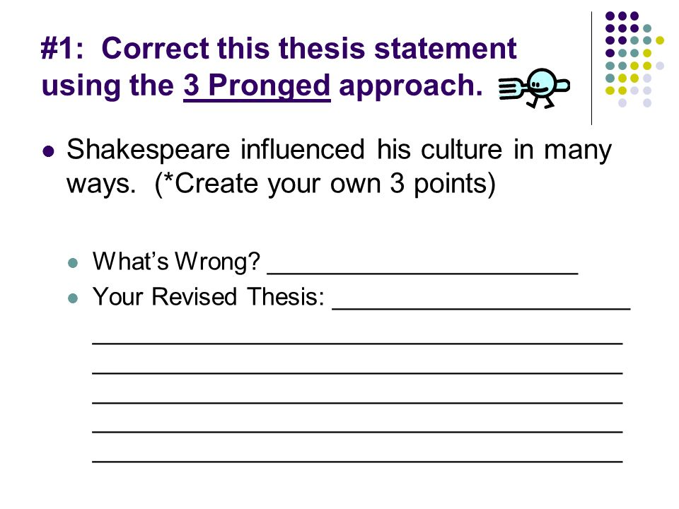 three prong parallel thesis statement Approved thesis statement (must be adhered to in final paper) is the last sentence of the introductory paragraph it is an original three-prong, parallel thesis statement the three prongs are organized from weakest.
