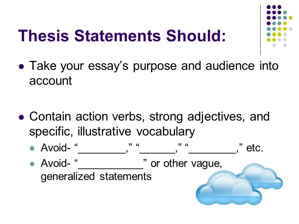 proving your thesis statement The thesis lets your reader know what you want to claim and how you are going to prove it is a thesis statement really that important absolutely with a good thesis statement, the rest of your essay will flow almost like magic a thesis statement prevents you from losing focus when you write, which means your entire essay will be better.