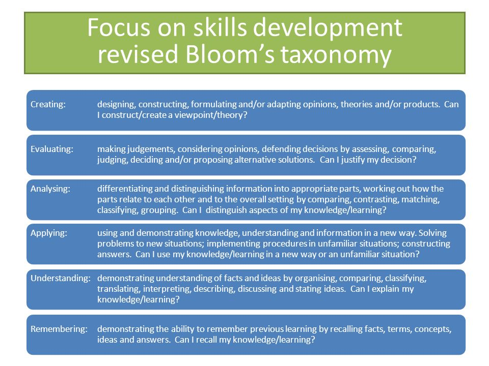 Focus on skills development revised Bloom's taxonomy