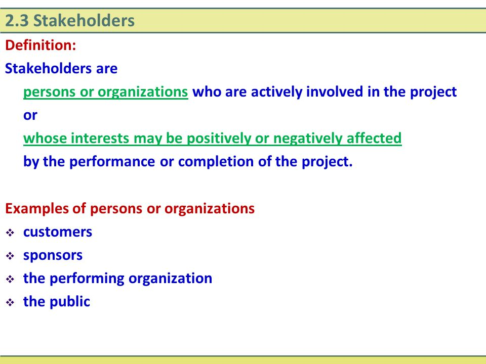 2.3 Stakeholders Definition: Stakeholders are