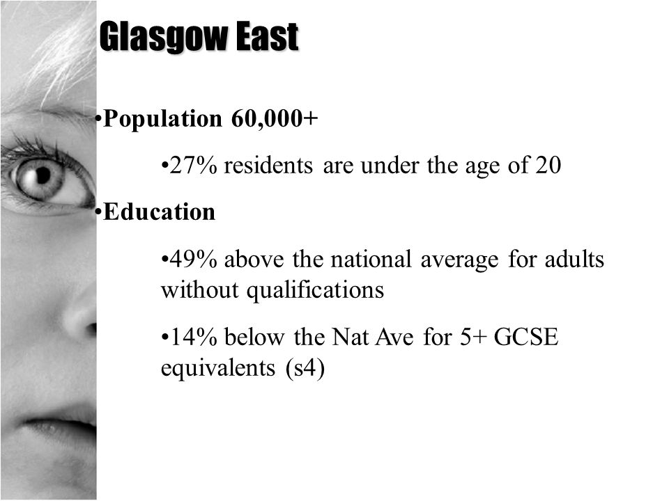 Glasgow East Population 60,000+ 27% residents are under the age of 20