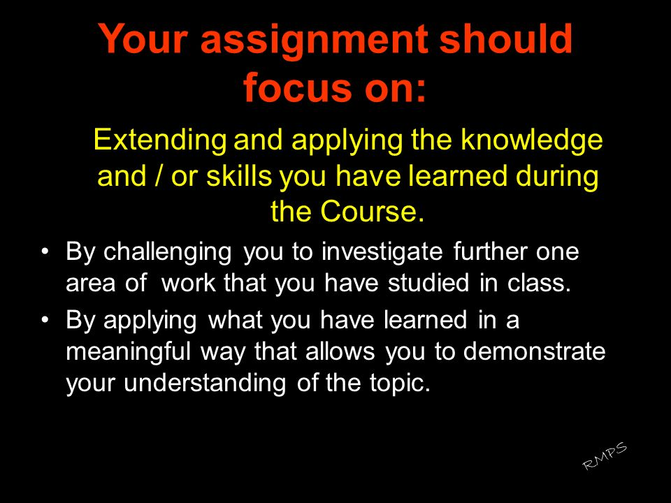 Your assignment should focus on: