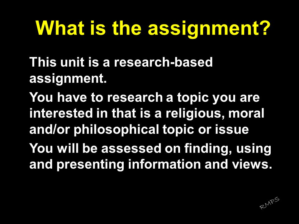 What is the assignment