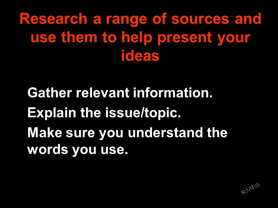 Research a range of sources and use them to help present your ideas