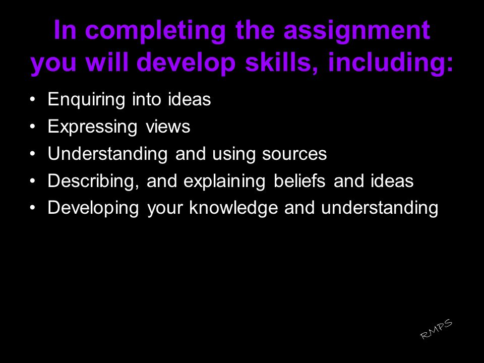In completing the assignment you will develop skills, including: