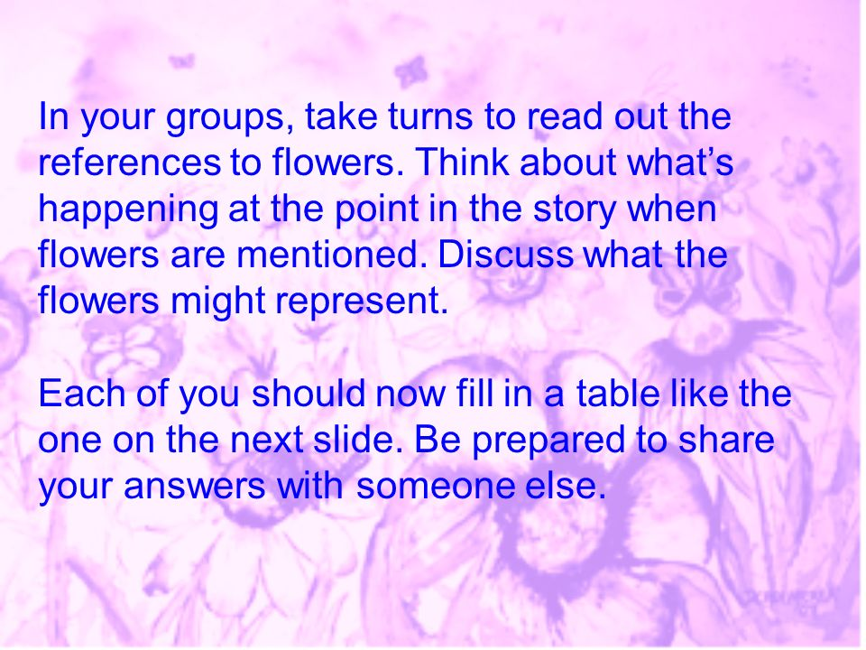 In your groups, take turns to read out the references to flowers