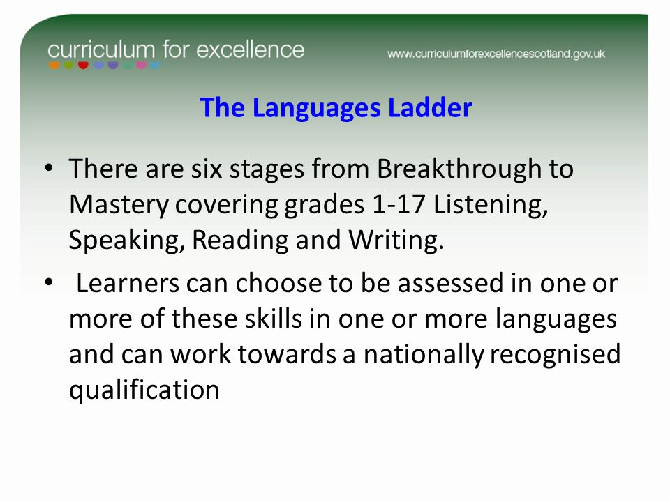The Languages Ladder There are six stages from Breakthrough to Mastery covering grades 1-17 Listening, Speaking, Reading and Writing.