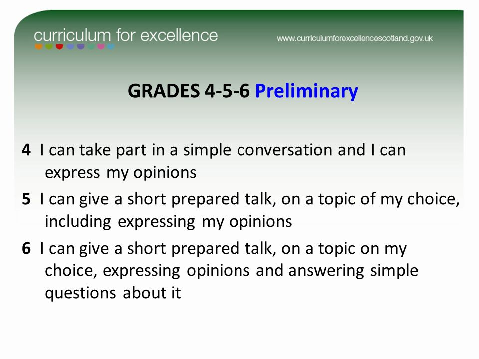 GRADES 4-5-6 Preliminary 4 I can take part in a simple conversation and I can express my opinions.