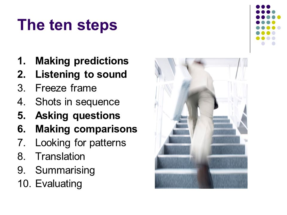 The ten steps 1. Making predictions 2. Listening to sound