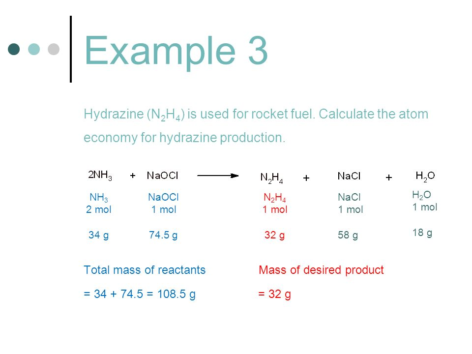 Example 3 Hydrazine (N2H4) is used for rocket fuel. Calculate the atom economy for hydrazine production.