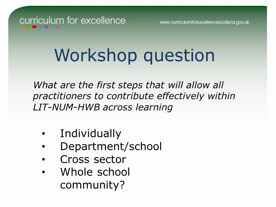 Workshop question Individually Department/school Cross sector