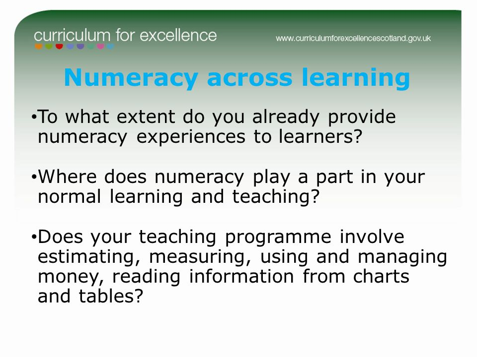 Numeracy across learning
