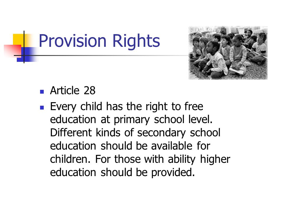Provision Rights Article 28
