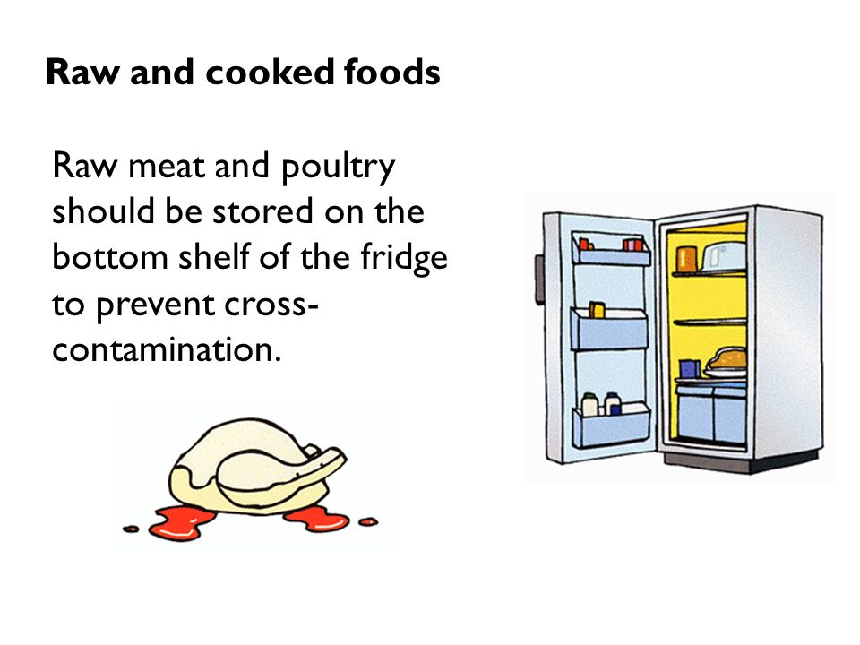 Raw and cooked foods Raw meat and poultry should be stored on the bottom shelf of the fridge.