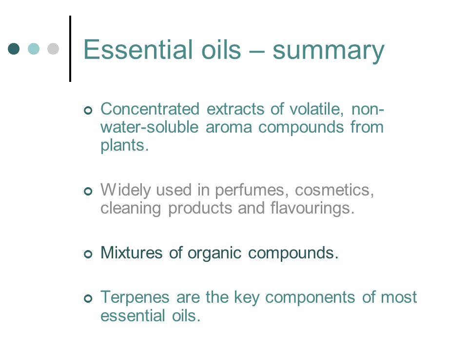 Essential oils – summary