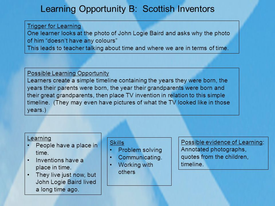 Learning Opportunity B: Scottish Inventors
