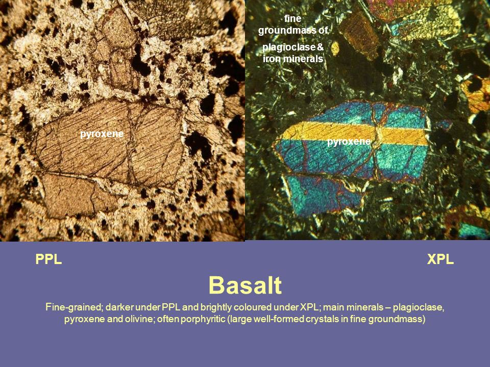 plagioclase & iron minerals