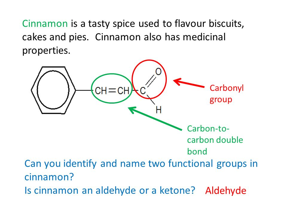 Can you identify and name two functional groups in cinnamon