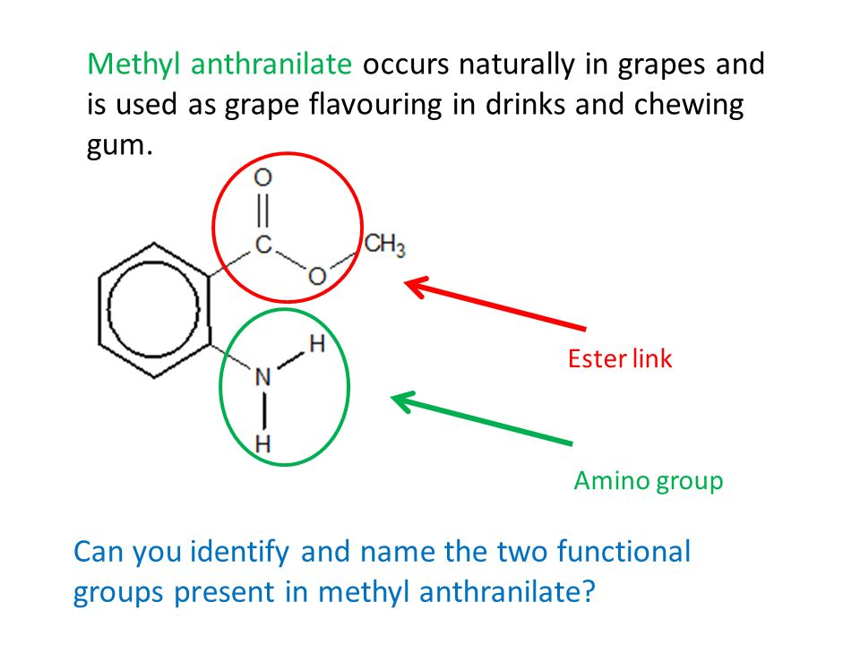 Methyl anthranilate occurs naturally in grapes and is used as grape flavouring in drinks and chewing gum.