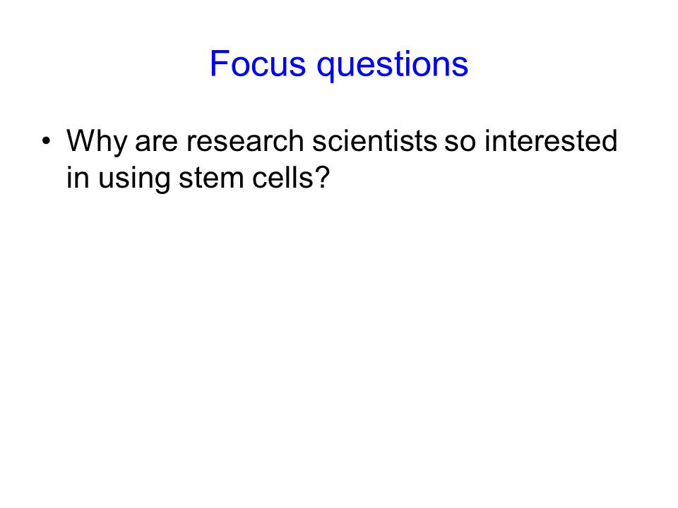 Focus questions Why are research scientists so interested in using stem cells 10