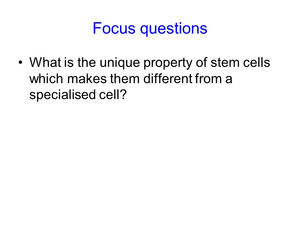 Focus questions What is the unique property of stem cells which makes them different from a specialised cell