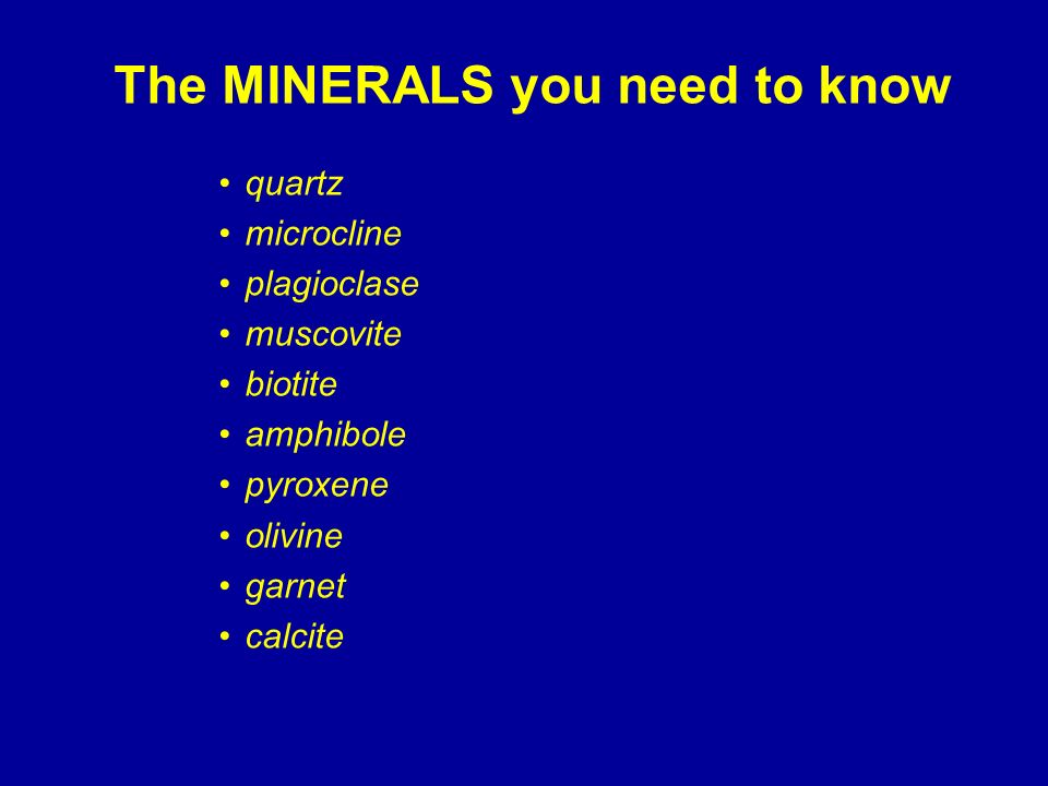 The MINERALS you need to know