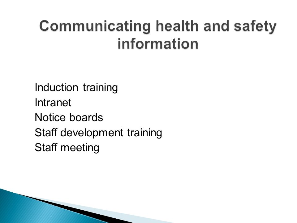 Communicating health and safety information
