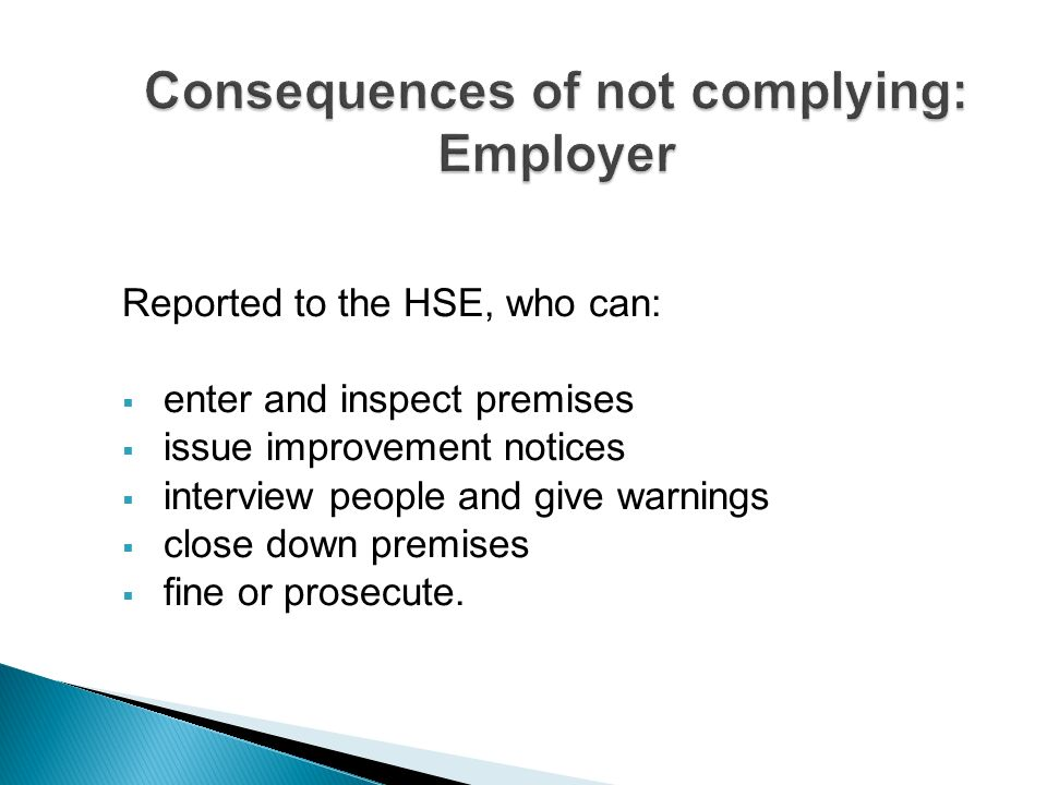 Consequences of not complying: Employer