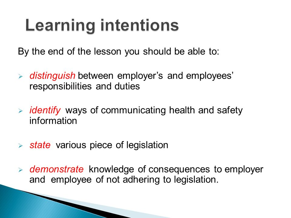 Learning intentions By the end of the lesson you should be able to: