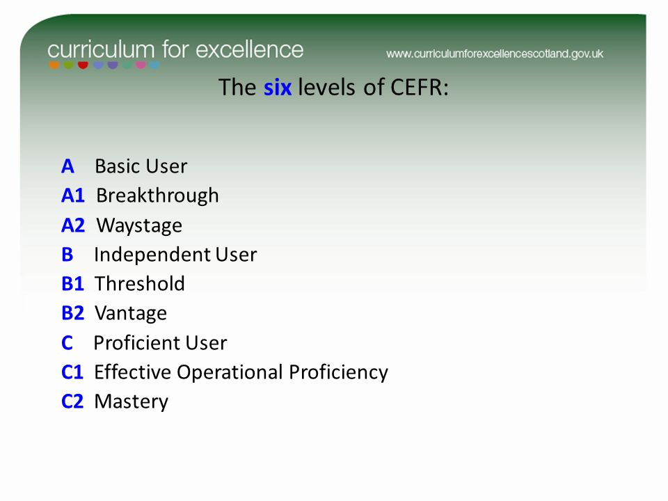 The six levels of CEFR: A1 Breakthrough A2 Waystage B Independent User