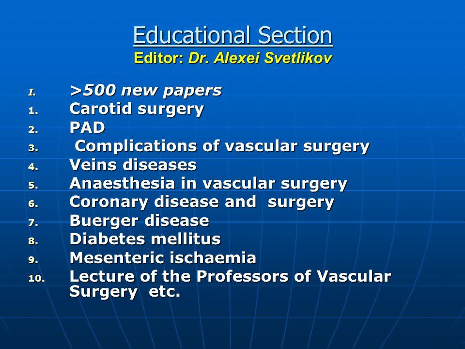 Educational Section Editor: Dr. Alexei Svetlikov