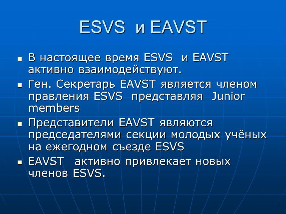 ESVS и EAVST В настоящее время ESVS и EAVST активно взаимодействуют.