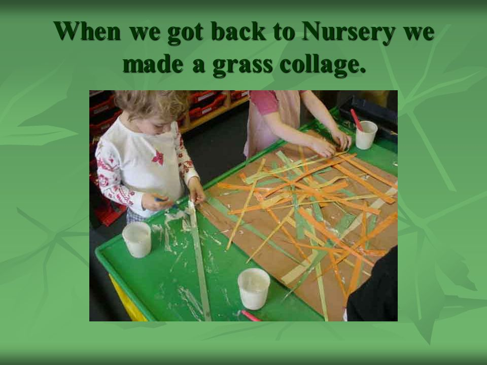 When we got back to Nursery we made a grass collage.