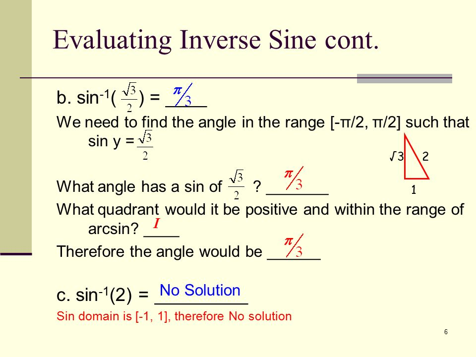 Evaluating Sine Cosine And Tangent Of Pi2: Trig/Precalc Chapter 4.7 Inverse Trig Functions
