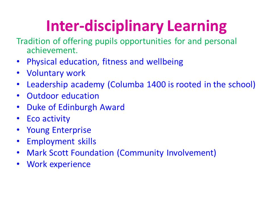 Inter-disciplinary Learning