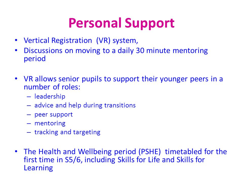 Personal Support Vertical Registration (VR) system,
