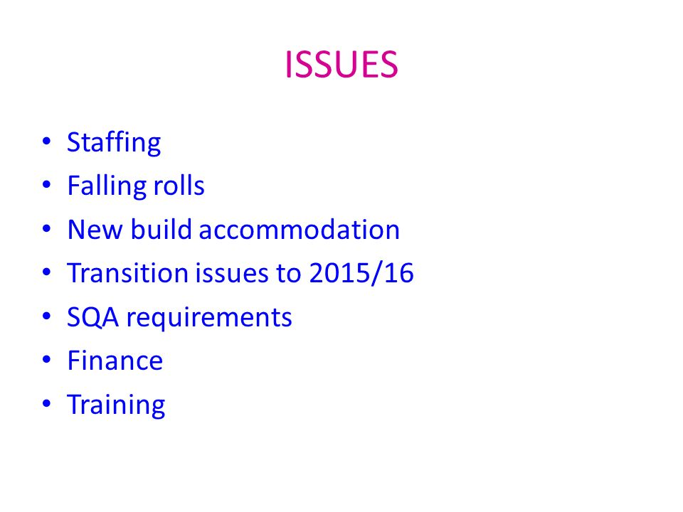 ISSUES Staffing Falling rolls New build accommodation